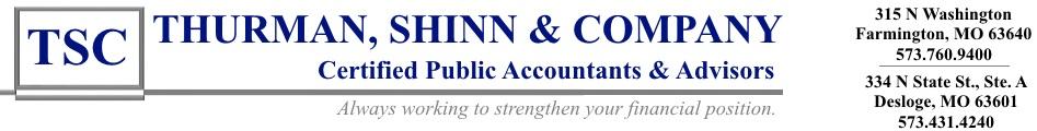 Thurman, Shinn & Company, CPAs  | Farmington, MO